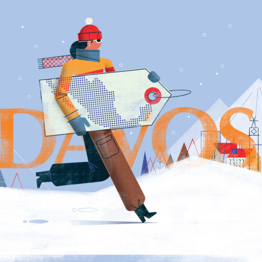 Digital Illustration: Davos, A Gate For Mexico